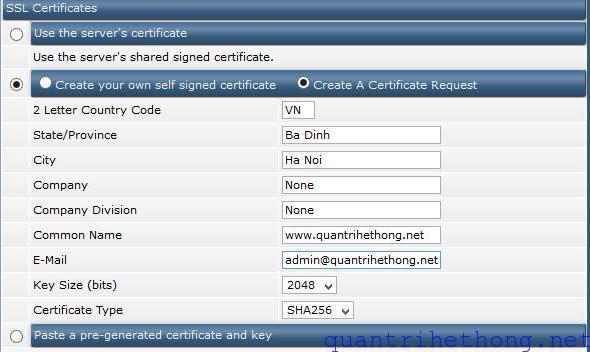 SSL directadmin