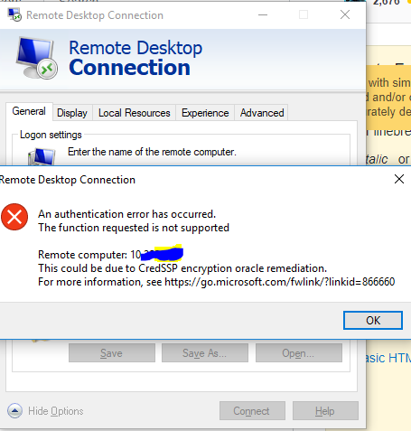 Remote desktop connection error after updating Windows - CredSSP updates for CVE-2018-0886