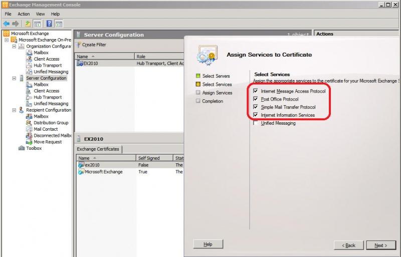 exchange 2010 assign new certificate to imap smtp mapi pop